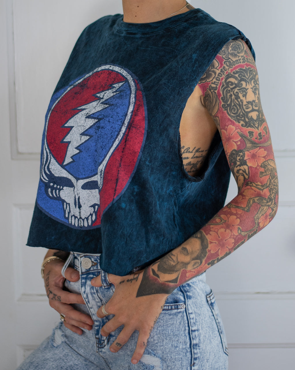 Dead Head navy ice dye crop tank