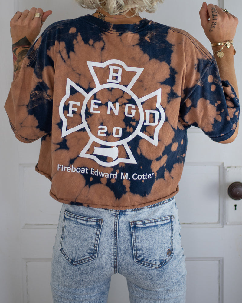 Buffalo Fire Boat bleach dyed crop tee