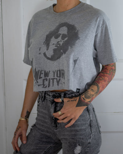 New York City grey crop top