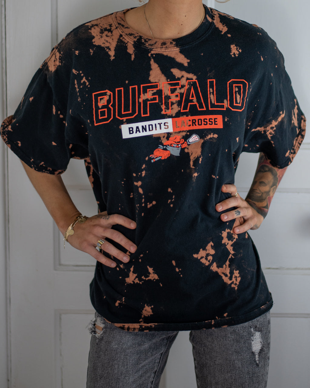 Buffalo Bandits black bleach dye tee