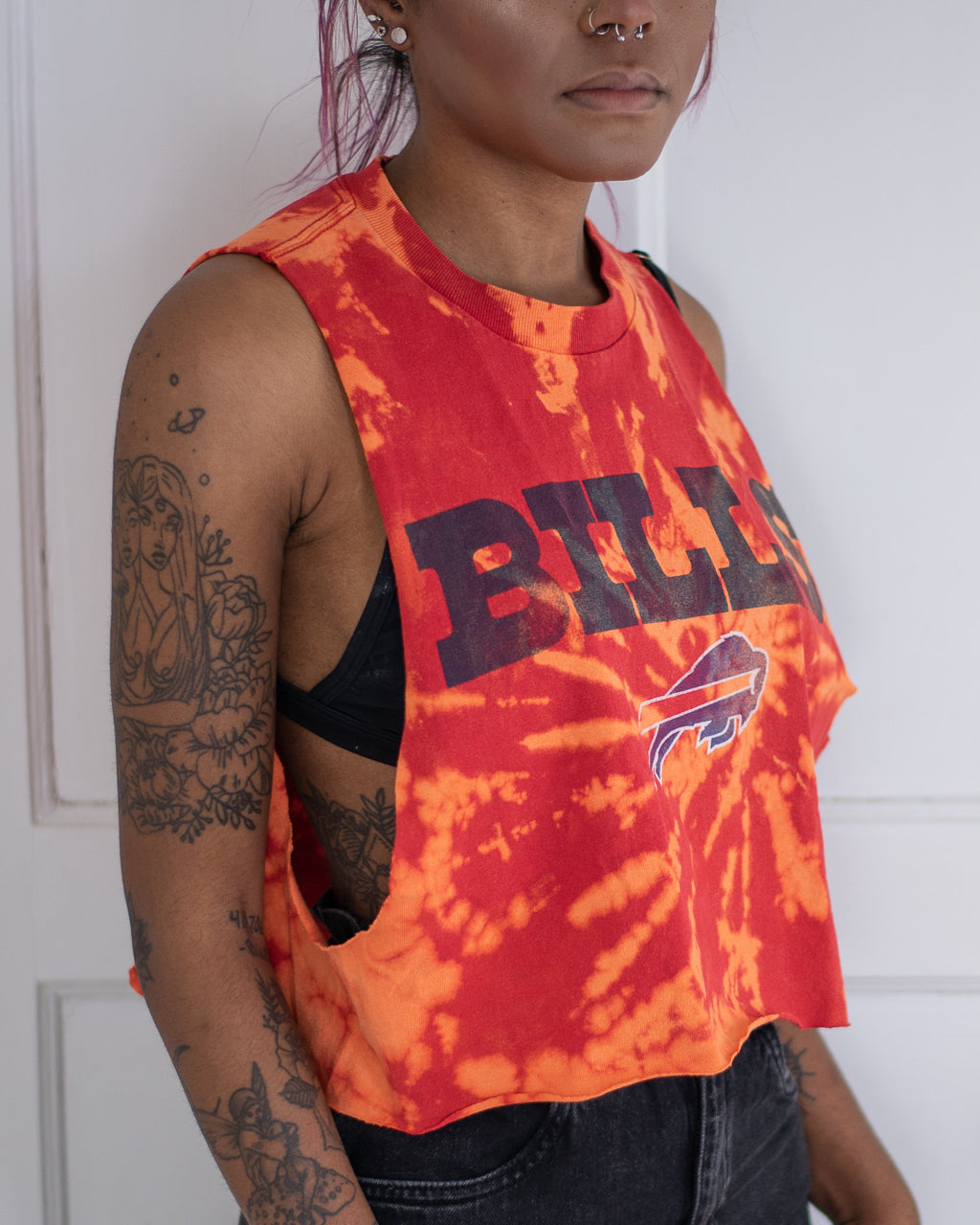 Buffalo Mafia red bleach dye crop tank