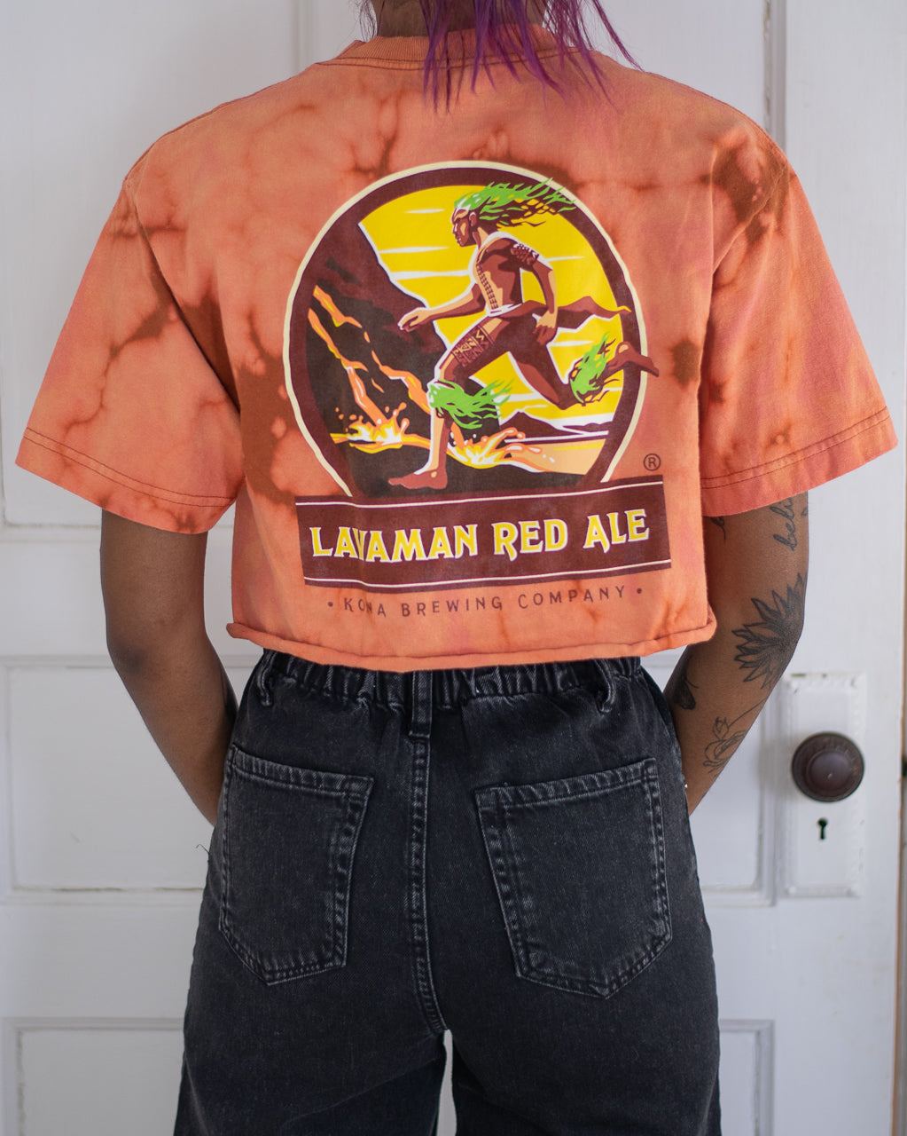 Kona Brewing Lavaman orange bleach dyed crop top