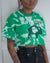 Buffalove green bleach dyed crop top