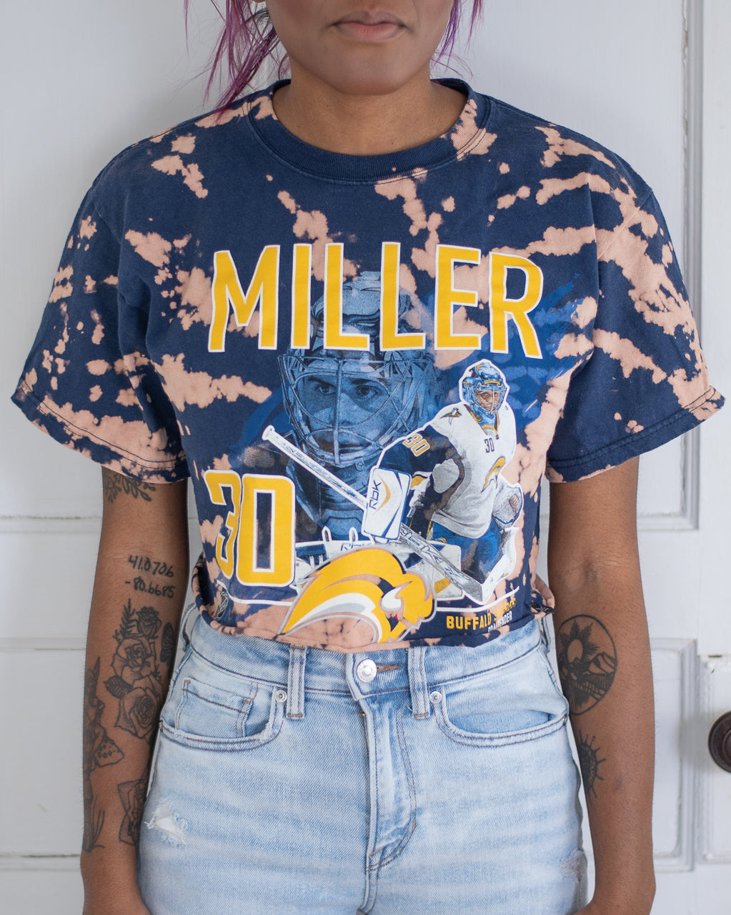 Ryan Miller bleach dye crop tee
