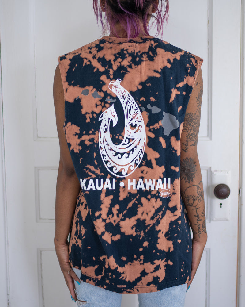 Kauai navy bleach dyed tank top