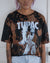 Tupac black bleach dye crop top