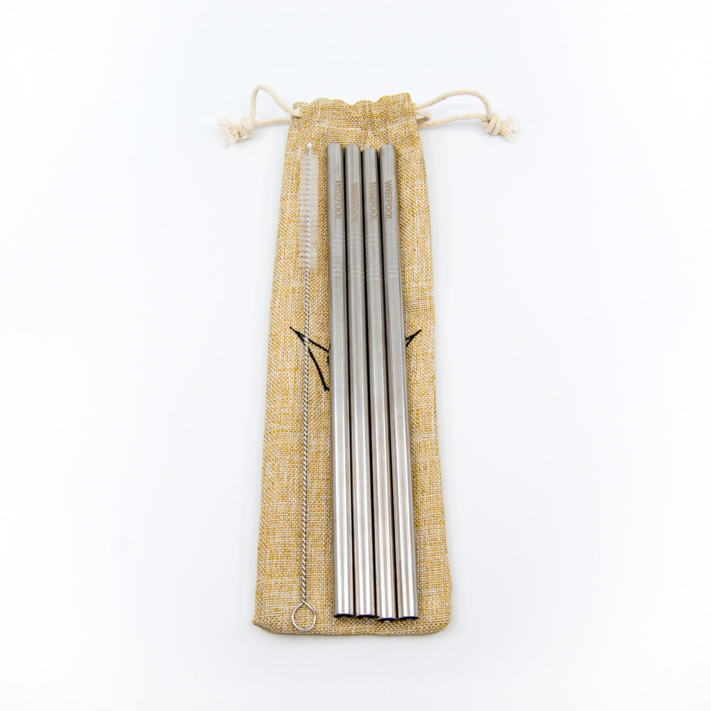 four pack stainless steel reusable straws