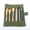 bamboo cutlery reusable straws with green travel wrap