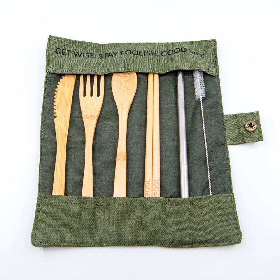 olive travel wrap bamboo reuseable utensil set