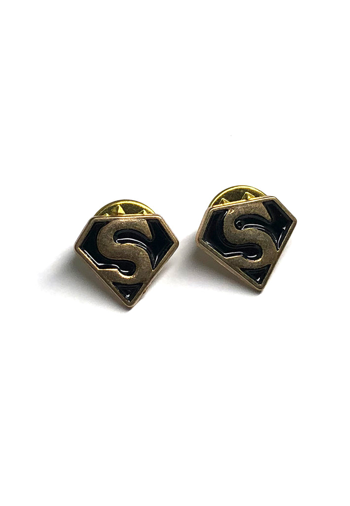 Black Superman Badge Collar Pins