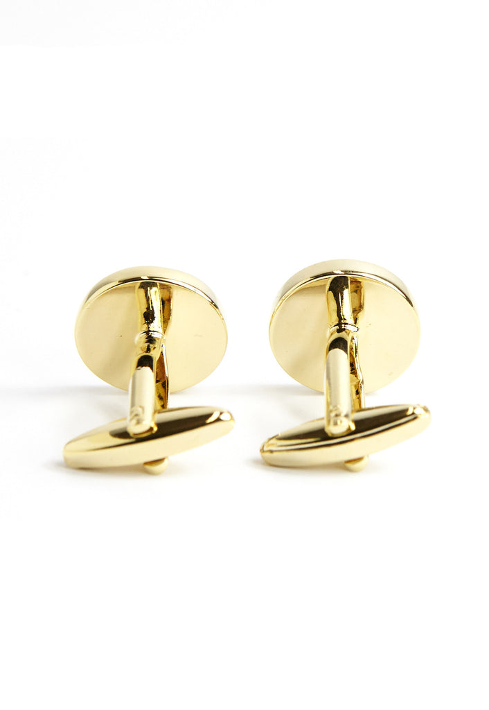 Gold Red Chinese Longevity Symbol Cufflinks