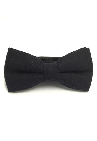 Dolly Series Black Wool Pre-tied Bow Tie