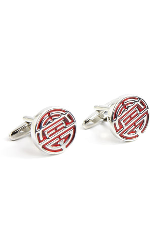 Silver/Red Chinese Longevity Symbol Cufflinks