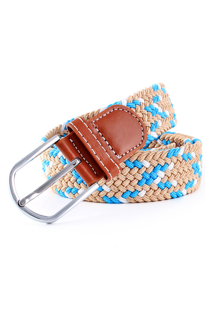 Entwine Series Light Brown, White & Baby Blue Braided Belts