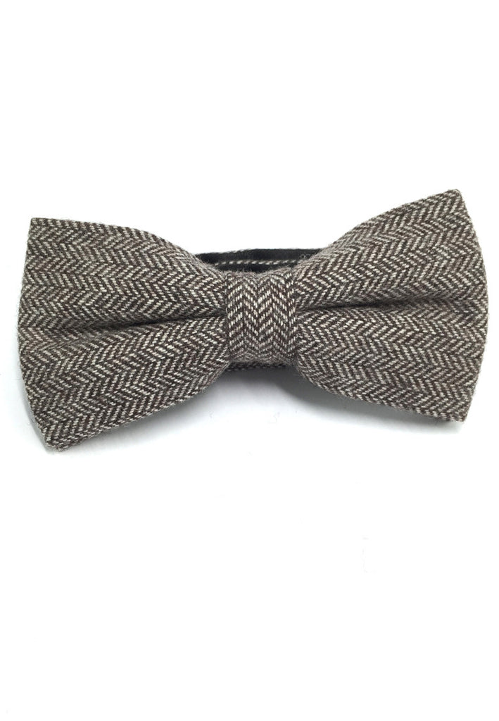 Dolly Series Brown Patterned Wool Pre-tied Bow Tie