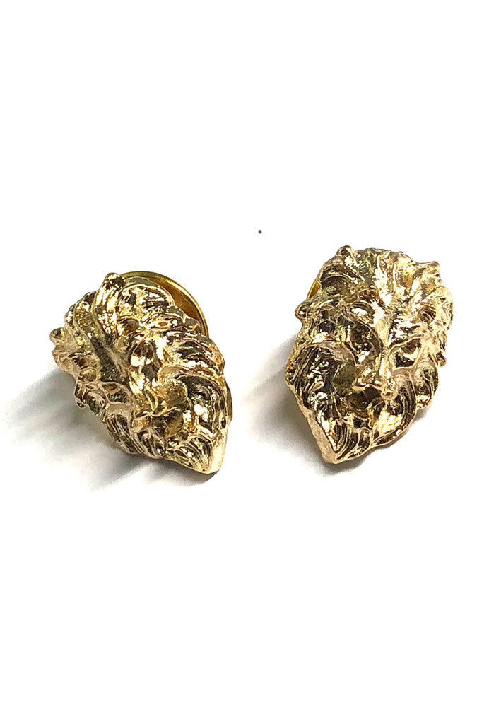 Gold Lion Head Collar Pins