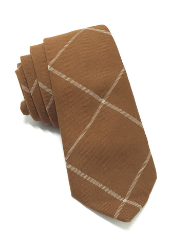 Daffy Series Brown Checked Skinny Viscose Tie