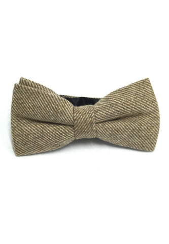 Dolly Series Light Brown Patterned Wool Pre-tied Bow Tie