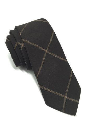 Daffy Series Black Checked Skinny Viscose Tie