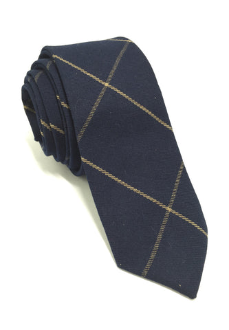 Daffy Series Navy Checked Skinny Viscose Tie