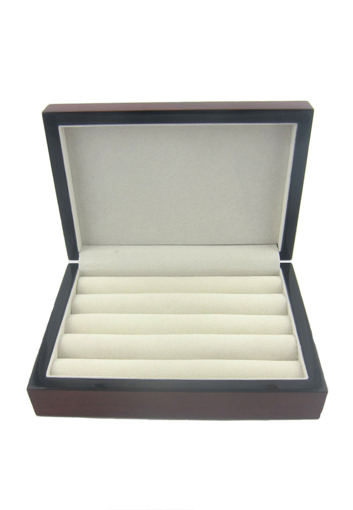 Oatwood Brown Glossy Finish Cufflinks Storage Box