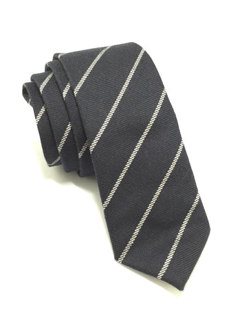 Daffy Series Navy Blue Stripes Skinny Viscose Tie