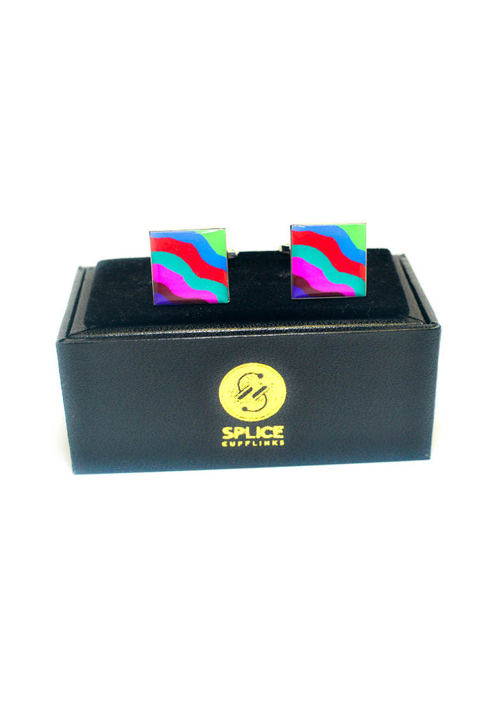 Multicoloured Squiggles Cufflinks