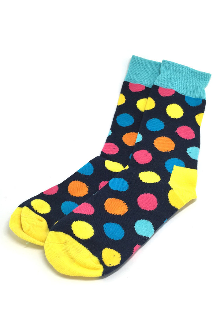Speckle Series Multi Colour Polka Dots Navy Blue and Yellow Socks