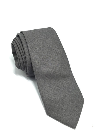 Daffy Series Plain Grey Skinny Viscose Tie