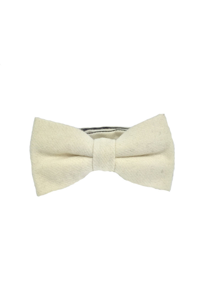 Dolly Series Creamy White Wool Pre-tied Bow Tie
