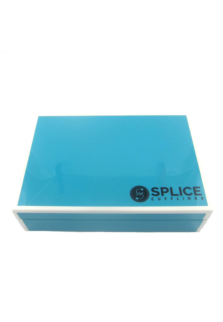 Blue Glossy Finish Cufflinks Storage Box