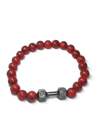 Masonry Series Red Natural Stone Beads Gunmetal Silver Dumbbell Bracelet