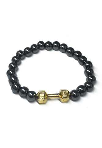 Chaplet Series Gunmetal Beads Gold Dumbbell Bracelet