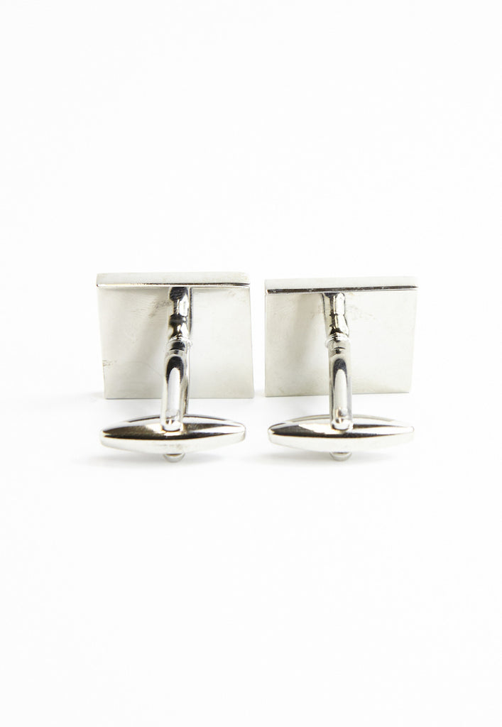 Square Screen Print Stripey Cufflinks - Blue