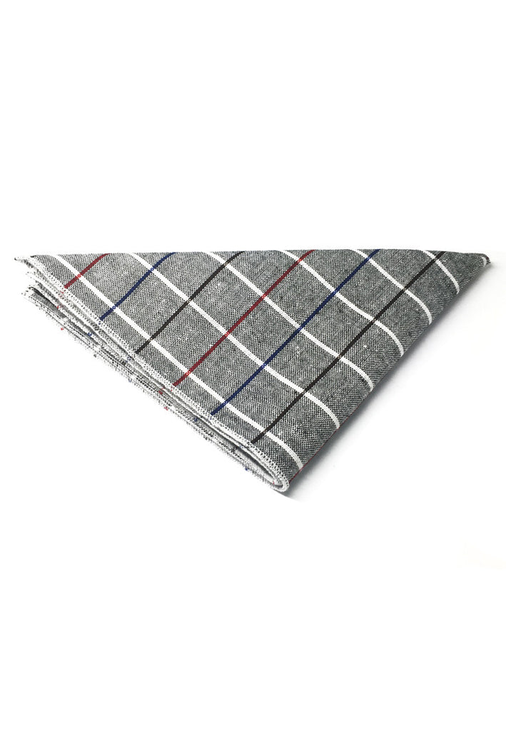 Patchwork Series Black, Red and Sky Blue Lines Plaids Design Dark Grey Cotton Pocket Square