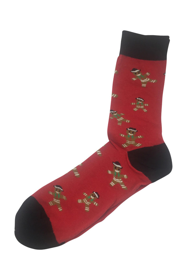 Splashy Series Gingerbread Man Design Red Socks