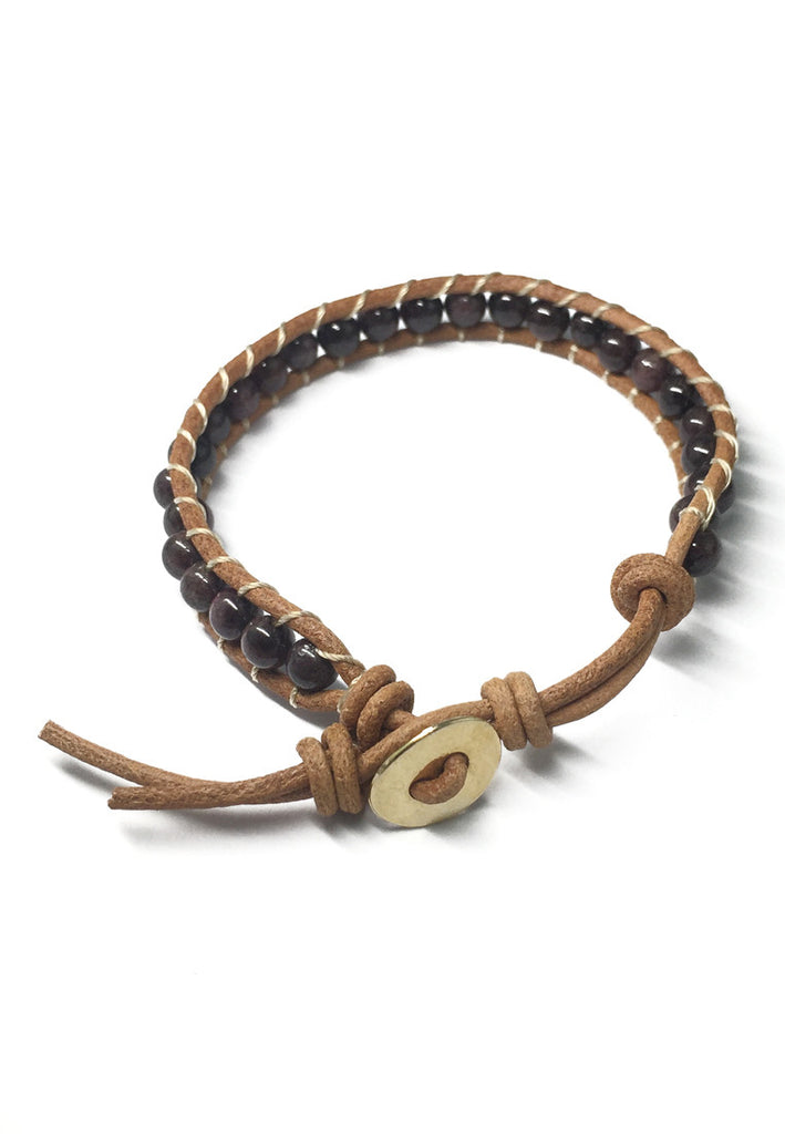 Coyote Series Garnet Stones Leather Bracelet