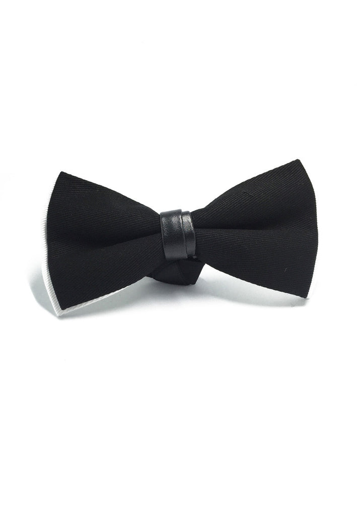 Sassy Series Black Cotton Pre-tied Bow Tie