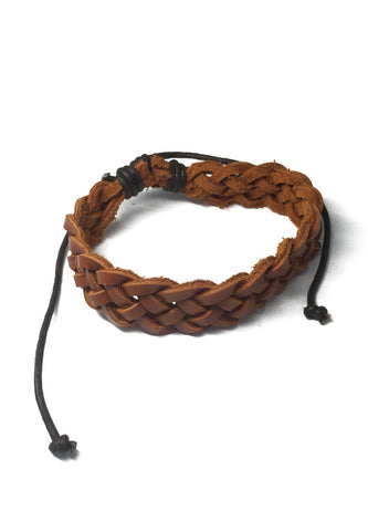 Coyote Series Light Brown Real Leather Bracelet