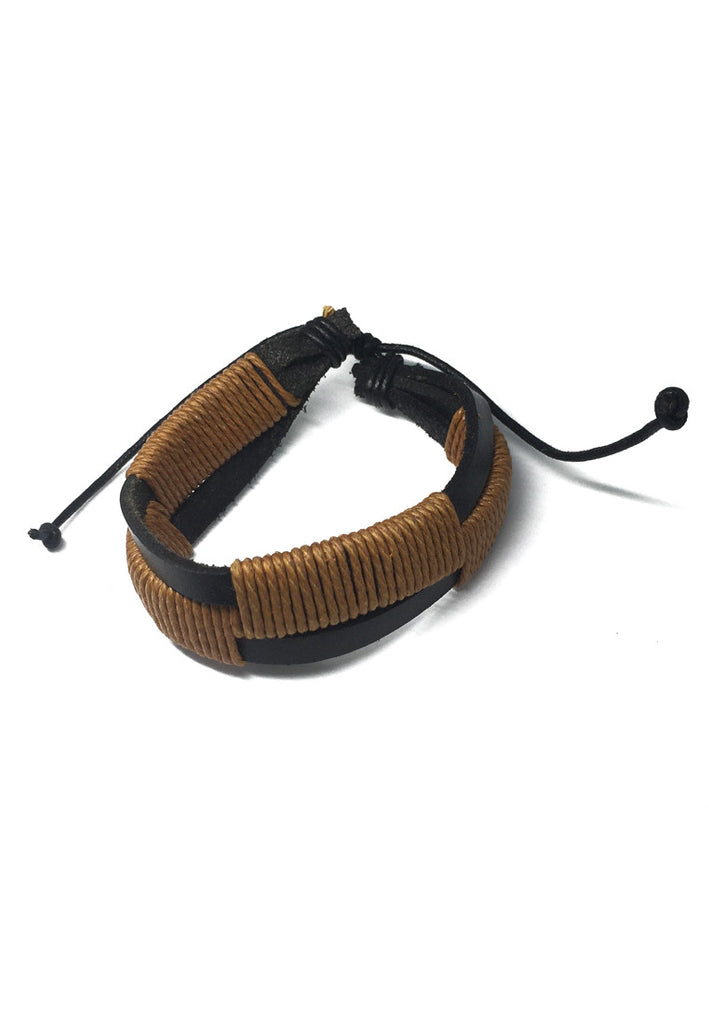 Coyote Series Brown Cords and Black Real Leather Bracelet