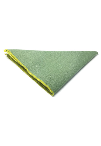 Snap Series Yellow Lining Light Green Cotton Pocket Square