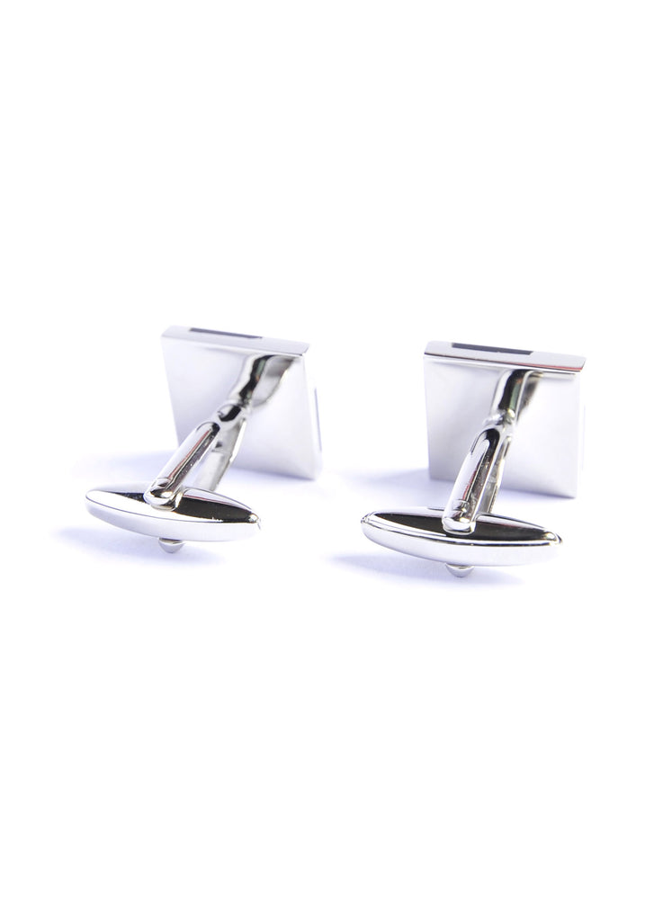 Rhodium Plated Pyramidal Black Feature Cufflinks