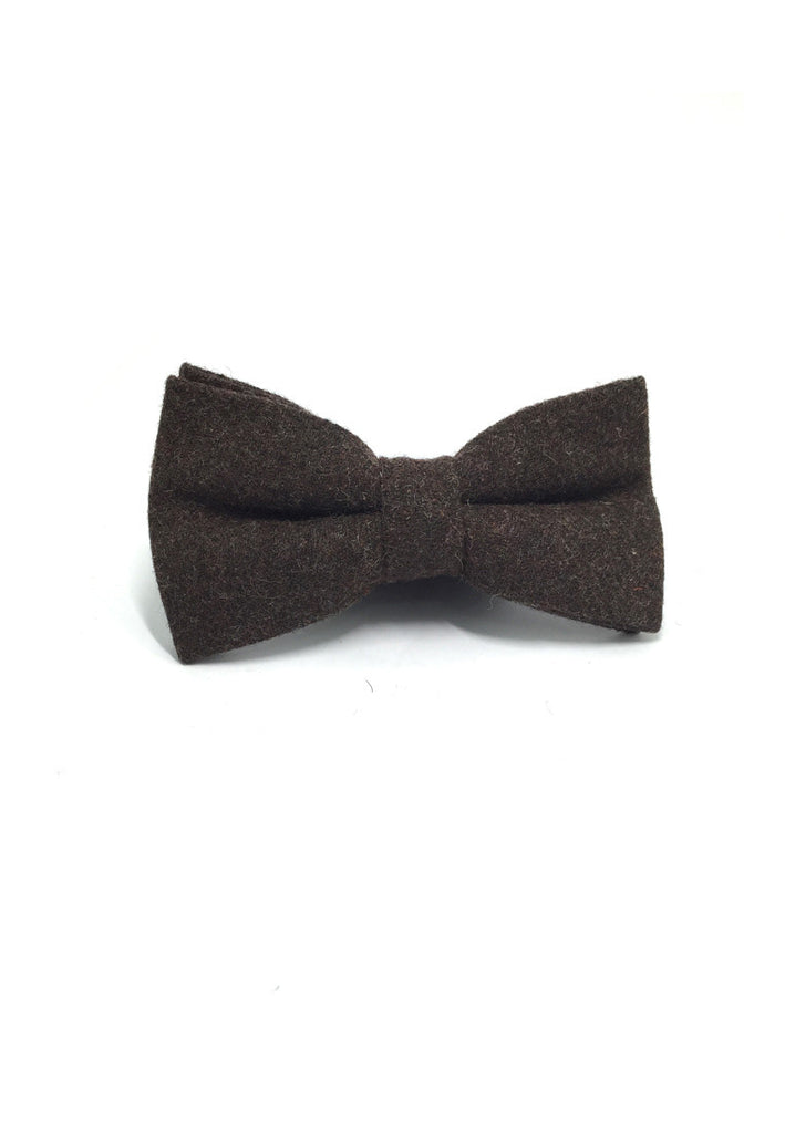 Dolly Series Dark Brown Wool Pre-tied Bow Tie