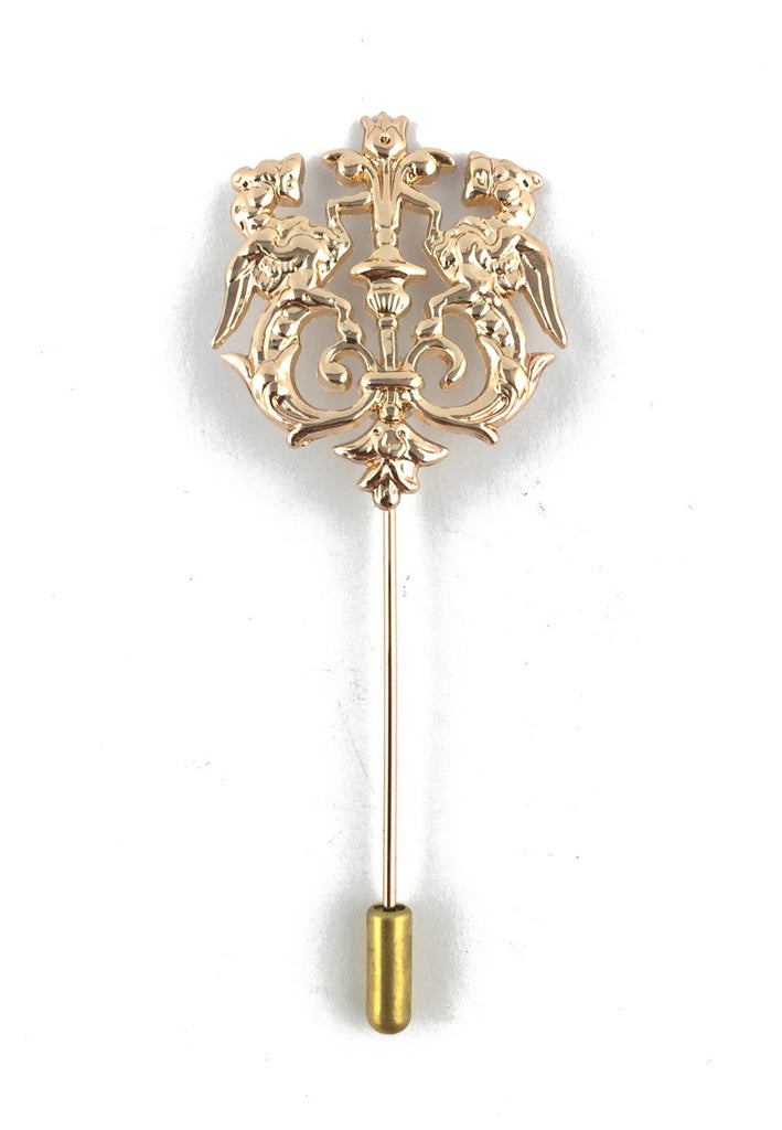 Gold Lion Crest Lapel Pin