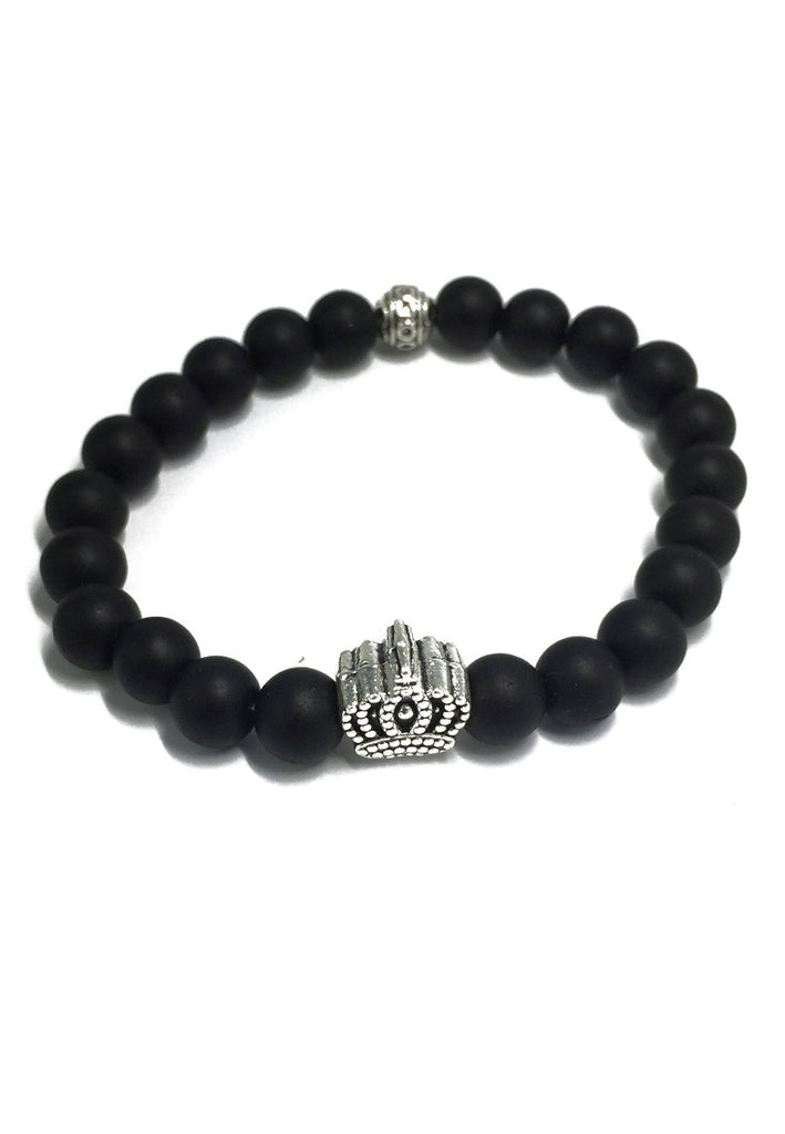 Masonry Series Black Natural Stone Beads Silver Crown Bracelet