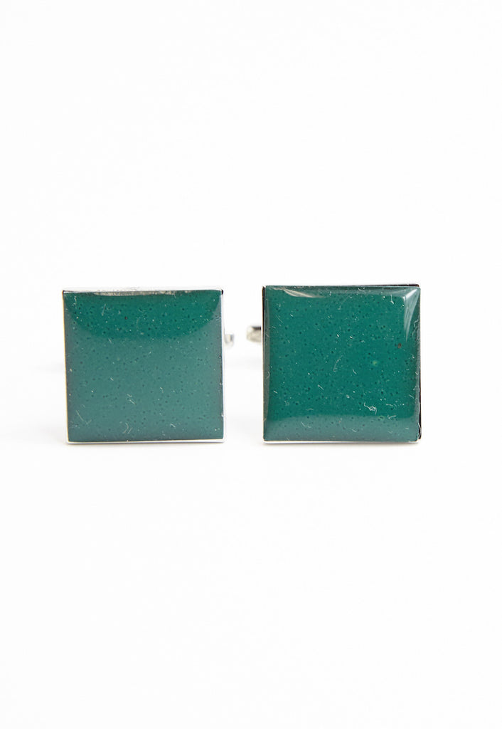 Dark Green Plain Square Cufflinks