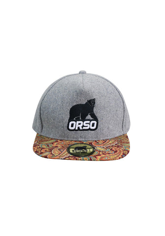 Orso Limited Edition Paisley Design Visor Light Grey Cotton Cap