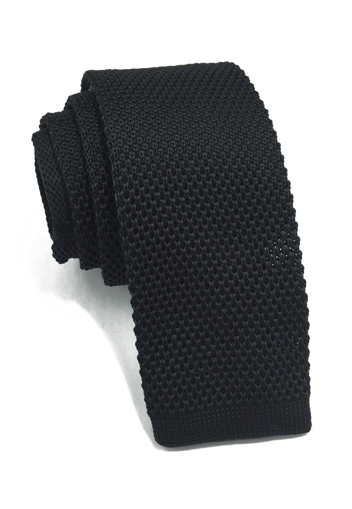 Interlace Series Black Knitted Tie