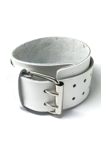 Gladiator Series White Real Leather Punk Bracelet