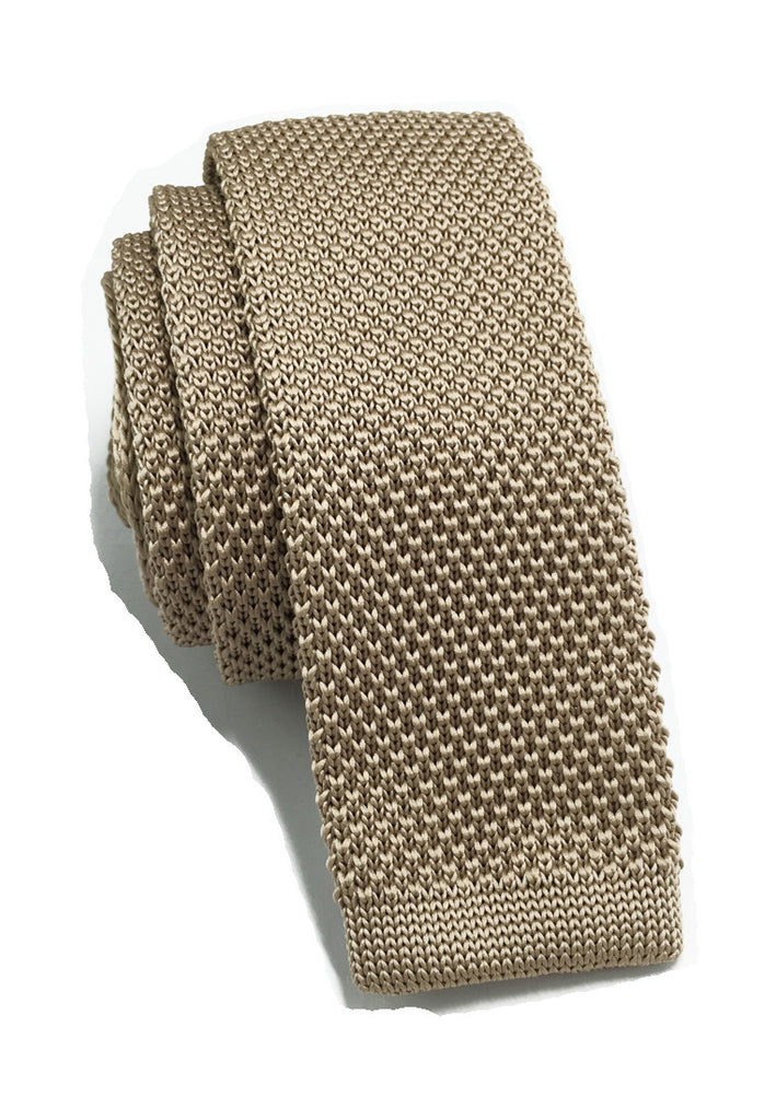 Interlace Series Beige Knitted Tie